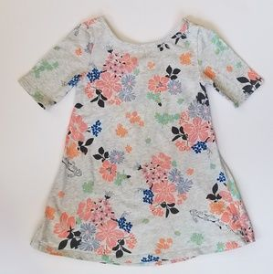 Old Navy Toddler Gray Floral Print Dress 5T